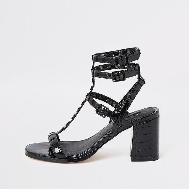 Black Studded Gladiator Block Heel