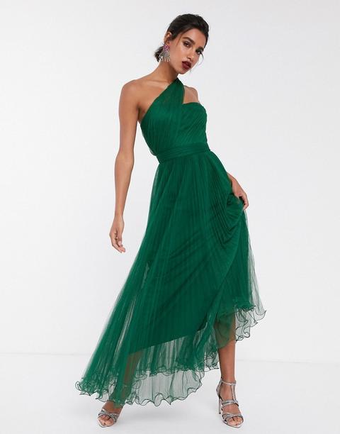 Vestido Largo Asimétrico En Tul Con Alambre En El Bajo De Asos Design-verde de ASOS en 21 Buttons