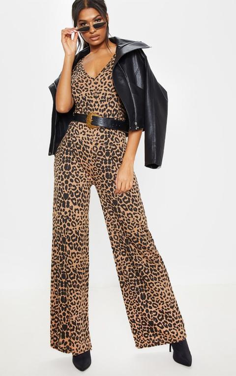 Beige Leopard Print Jersey Wide Leg Jumpsuit