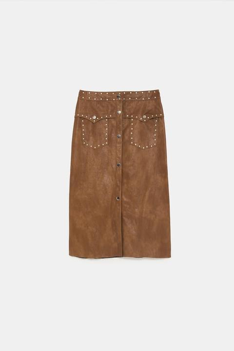 vendita calda offrire sconti cercare Gonna Effetto Pelle Con Borchie from Zara on 21 Buttons