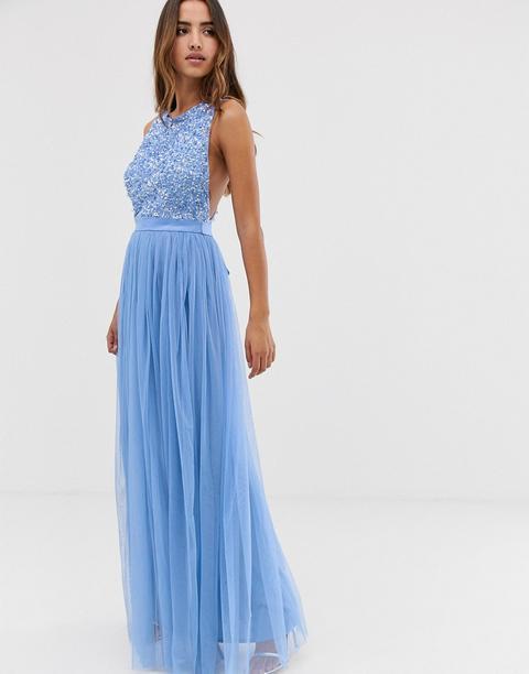 Vestido Largo Con Delicado Corpiño De Lentejuelas Y Espalda Cruzada Con Detalle De Lazo En Color Jacinto De Maya-azul