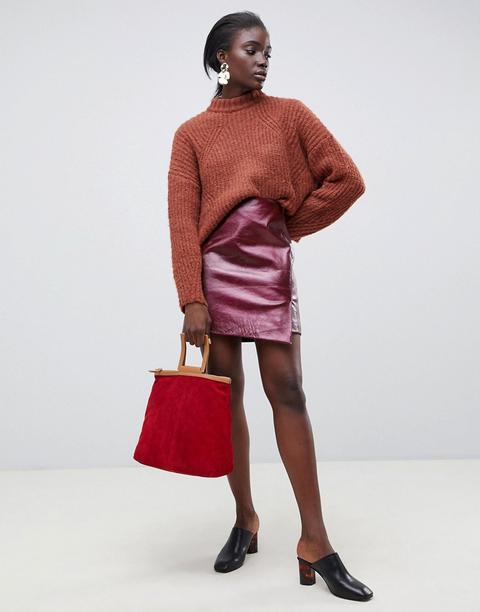 brand new de916 7fefa Selected Femme - Gonna A Portafoglio In Pelle Rossa Con ...