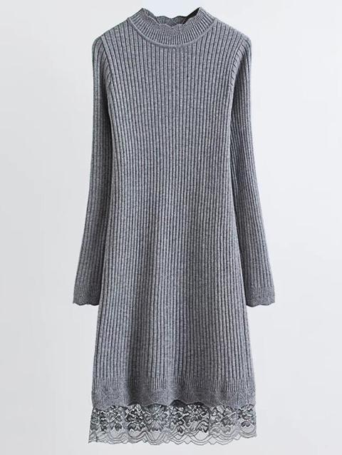 Lace Trim Ribbed Jumper Dress