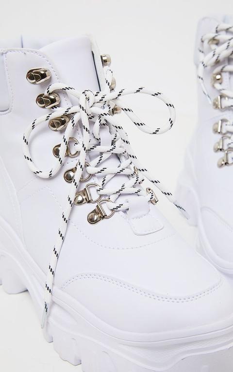 White Flatform Chunky Hiker Boot