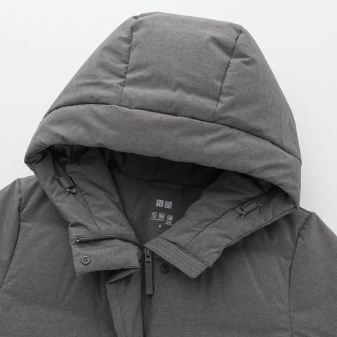Abrigo Corto Sin Costuras Plumas Capucha Mujer