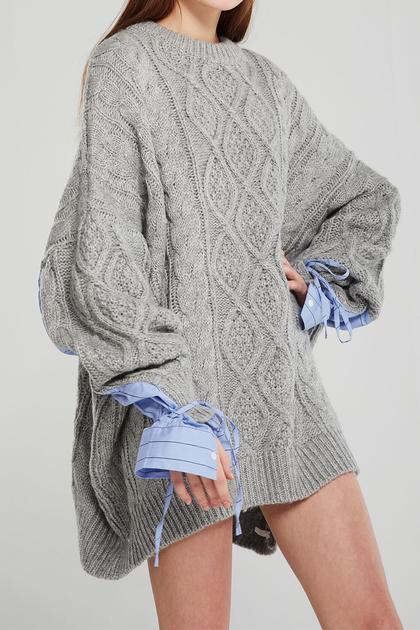 Sadie Shirt Combo Knit Pullover de Storets en 21 Buttons