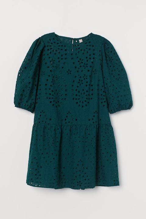Robe Avec Broderie Anglaise - Vert