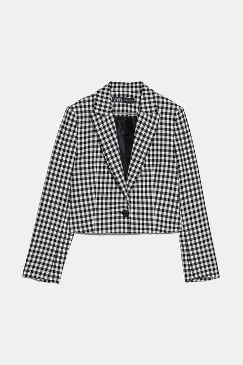 Blazer Cropped Cuadro Vichy de Zara en 21 Buttons