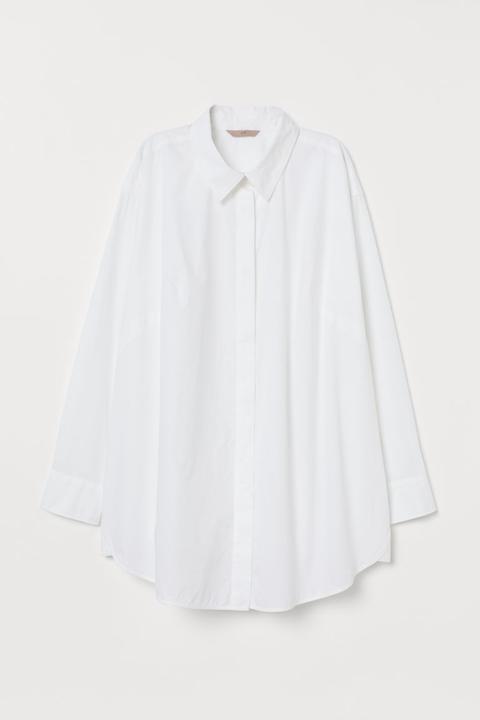 H & M+ Camisa Oversize - Blanco