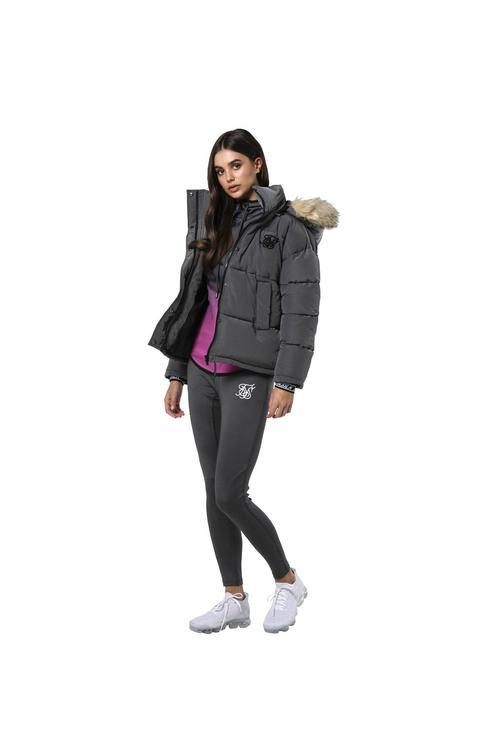Siksilk Short Parka Jacket - Charcoal Tallas De Mujer