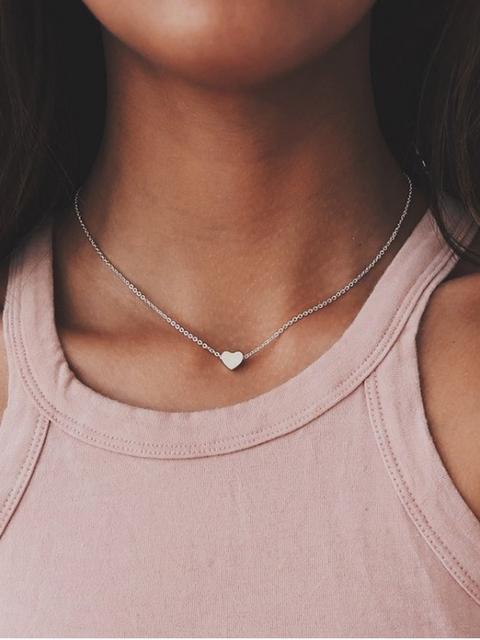 Collar De Cadena De Clavícula De Corazón Gold Silver