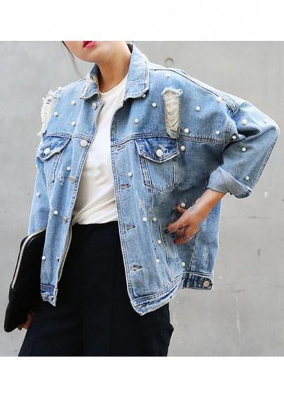 new product b5f58 7ac0c Blaue Perlen Taschen Löcher Mode Boyfreind Jeans Jacken Mantel Damen Kurz  from Cichic on 21 Buttons