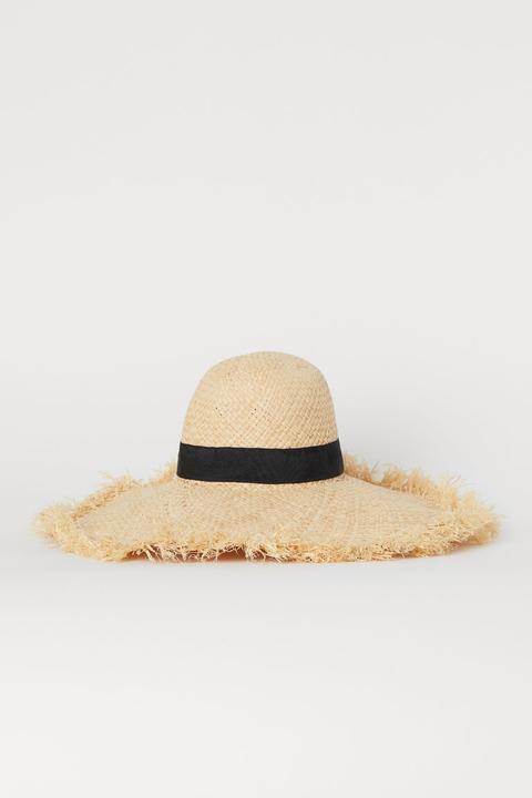 Paper Straw Sun Hat - Beige