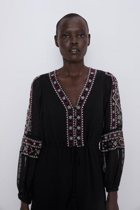 el precio más bajo comprar real el precio más baratas Vestido Plumeti Bordados de Zara en 21 Buttons