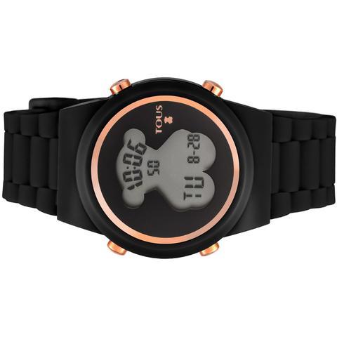 Reloj Digital D-bear De Acero Ip Rosado Con Correa De Silicona Negra