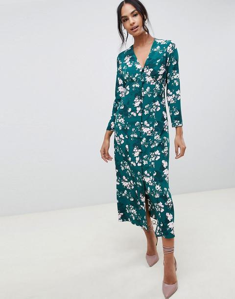 Vestido Largo Con Diseño Abotonado Con Estampado Floral De Asos Design de ASOS en 21 Buttons
