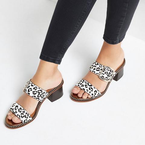 White Leather Leopard Print Block Heel