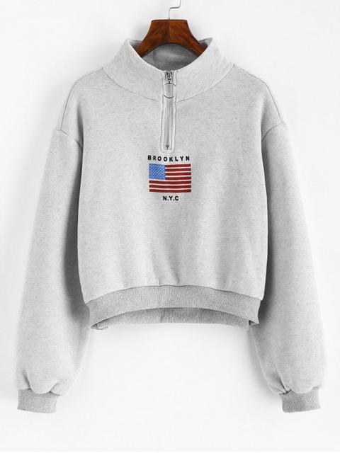 Sudadera Cuello Alto Bandera Americana Cremallera White Light Gray Black