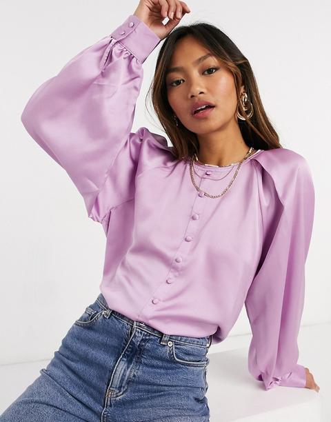 Blusa Lila Con Detalle De Botones Y Mangas Voluminosas De Satén De Vero Moda-violeta
