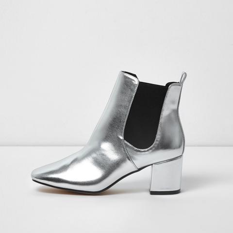 Metallic Silver Block Heel Chelsea