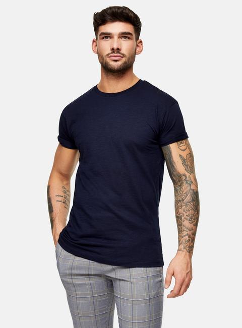Mens Navy Blue Slub Roller T-shirt, Navy