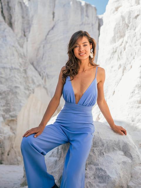 Blue Crepe Jumpsuit With Straps