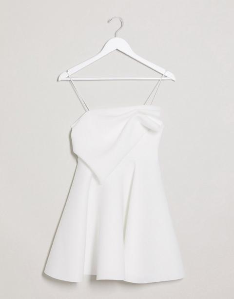 Asos Design - Robe Patineuse Courte Caraco Plissée - Ivoire-blanc