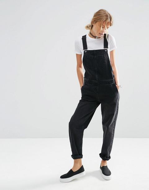 Asos Design - Salopette Di Jeans Nero Slavato - Nero