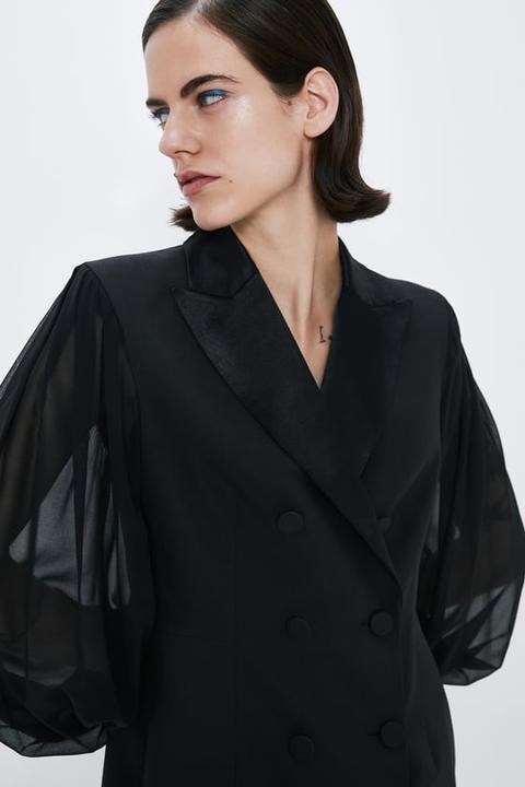 Vestido Blazer Mangas Combinadas