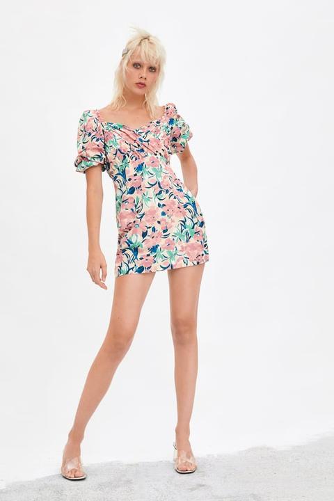 Manga Zara Abullonada 21 En Estampado Floral De Vestido Buttons yNnwv0m8O