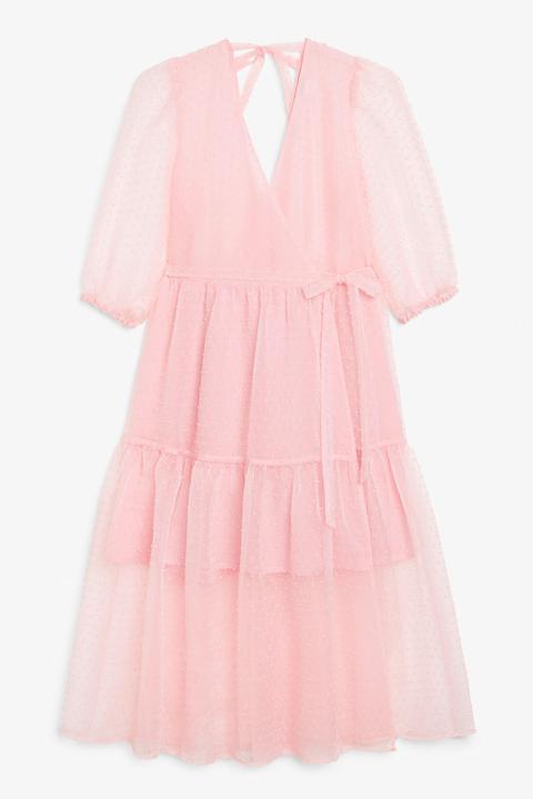 Puff Sleeve Midi Dress - Pink