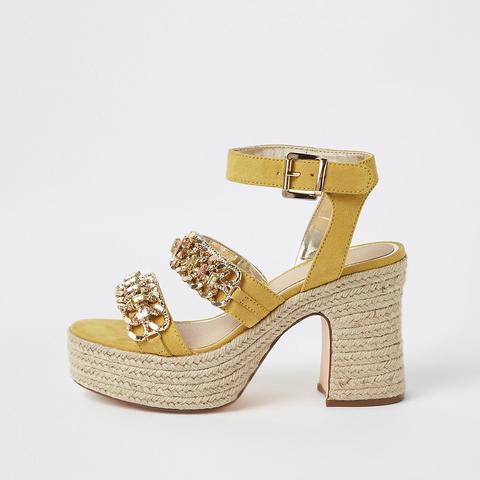 Yellow Chain Espadrille Block Heel