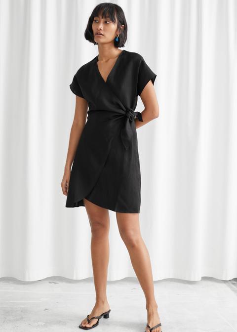 Linen Blend Wrap Mini Dress