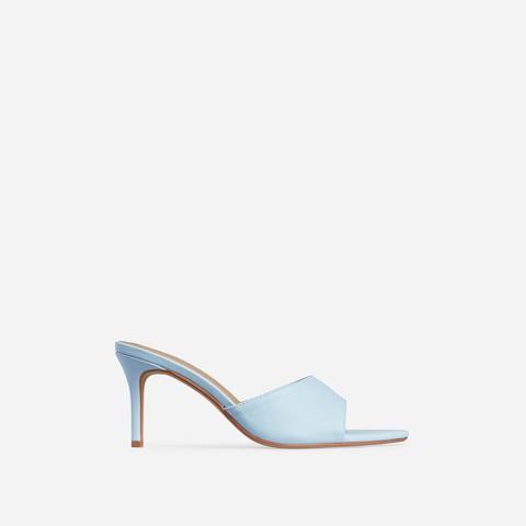 Maelle Pointed Peep Toe Kitten Heel Mule In Light Blue Faux Leather, Blue