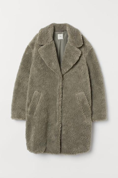 Abrigo En Tejido Peluche - Verde de H&M en 21 Buttons