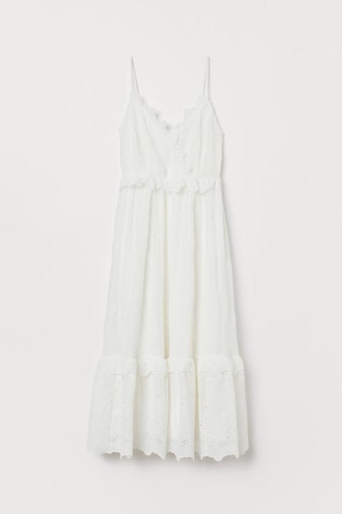 Vestido Bordado De Volantes - Blanco de H&M en 21 Buttons