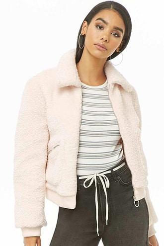 Forever 21 Faux Fur Jacket , Pink