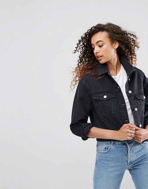 Asos Design - Girlfriend-jeansjacke In Gewaschenem Schwarz - Schwarz from ASOS on 21 Buttons