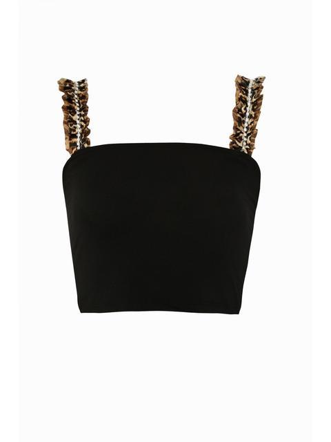Black Animal Organza Trim Crop Top
