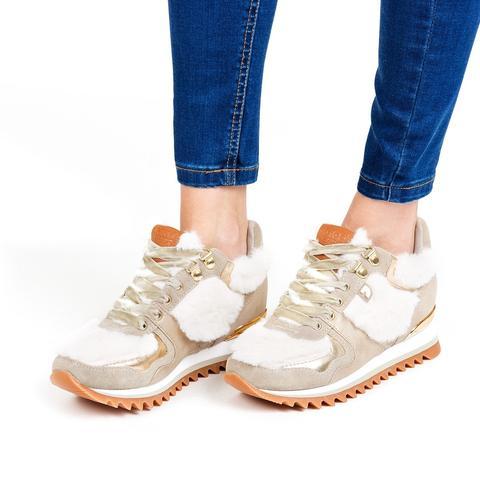 Sneakers De Mujer En Beige Con Detalles De Pelo Y Cuña Interna 41065 de Gioseppo en 21 Buttons