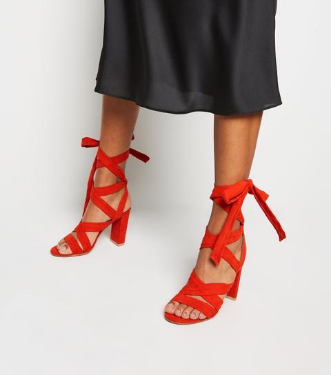 Bright Orange Suedette Ankle Tie Block Heels New Look