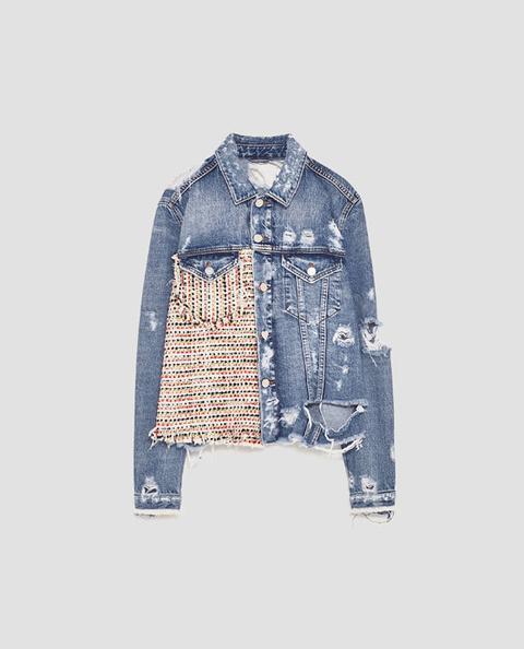 scarpe di separazione 0d817 a3f97 Giubbotto Jeans Con Tweed from Zara on 21 Buttons