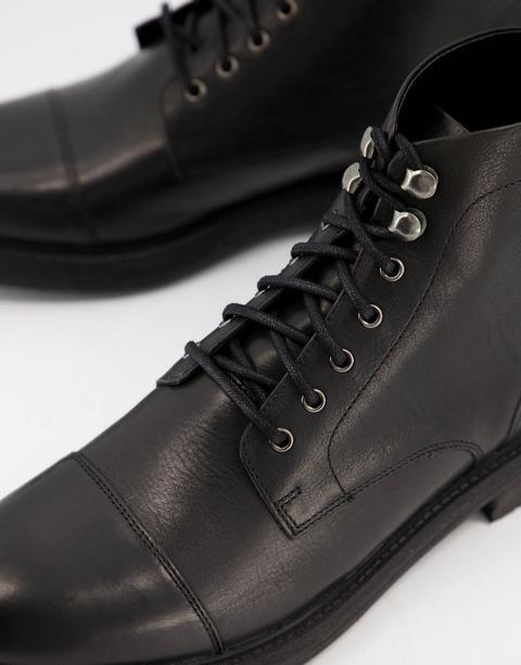 Walk London Wolf Toe Cap Boots In Black Leather