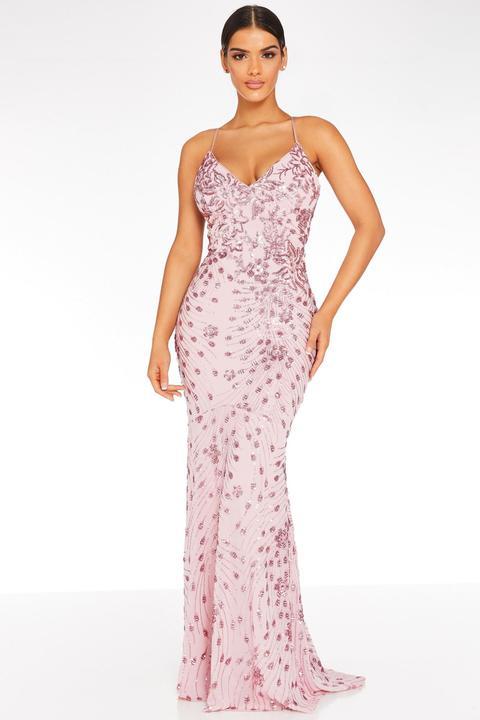 Vestido Largo Rosa Con Lentejuelas de Quiz en 21 Buttons