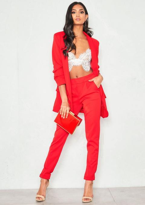 Jessica Red Ruched Sleeve Longline Blazer
