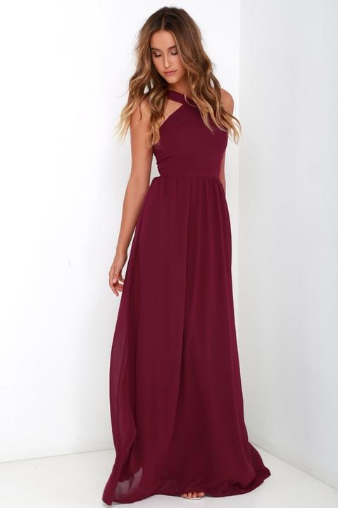 Air Of Romance Burgundy Maxi Dress - Lulus de Lulus en 21 Buttons