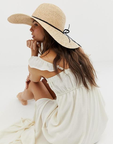 Sombrero Floppy De Paja Natural Con Trenzado Y Trabilla Ajustable De Asos Design-marrón