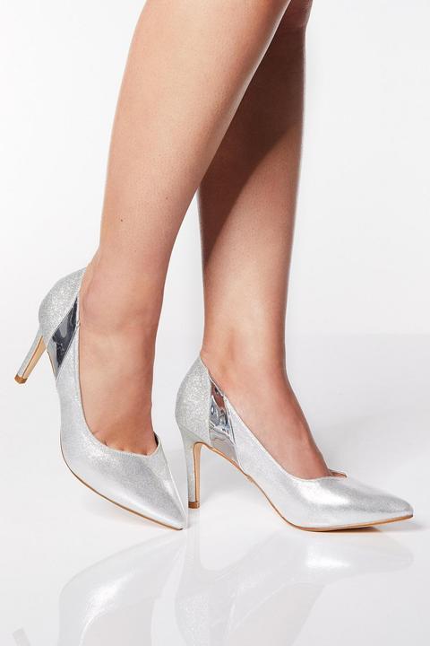 Wide Fit Silver Metallic Mid Heel Court