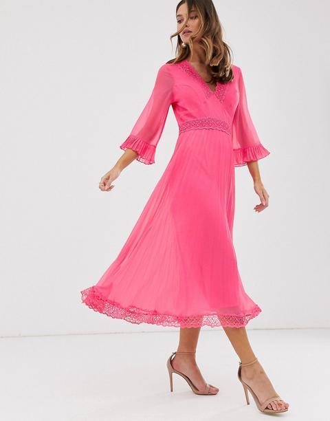 Vestido Midi Plisado Con Aplicaciones De Encaje De Asos Design-rosa