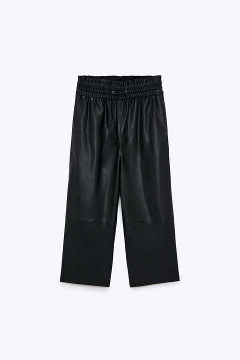 Pantalón Culotte Efecto Piel